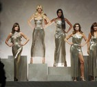 Carla Bruni, Claudia Shiffer, Naomi Campbell, Cindy Crawford and Helena Christensen wear a creations as part of the Versace women's Spring/Summer 2018 fashion collection (ANSA)